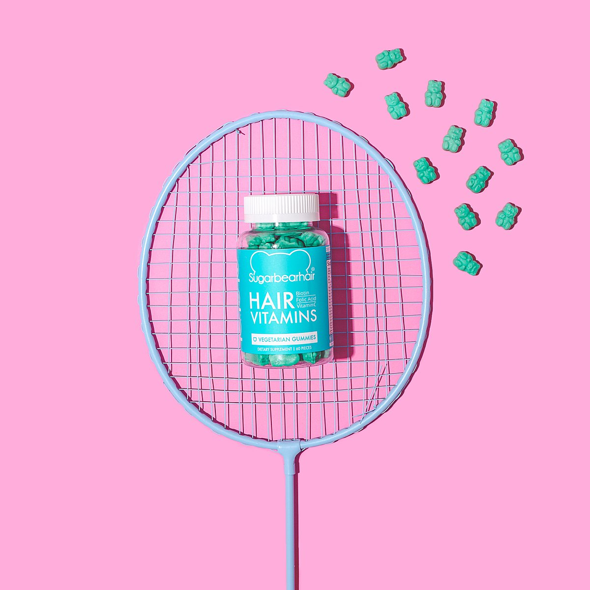 Colourful content creation for SugarBearHair vitamin supplements. Styled product photography by Marianne Taylor.