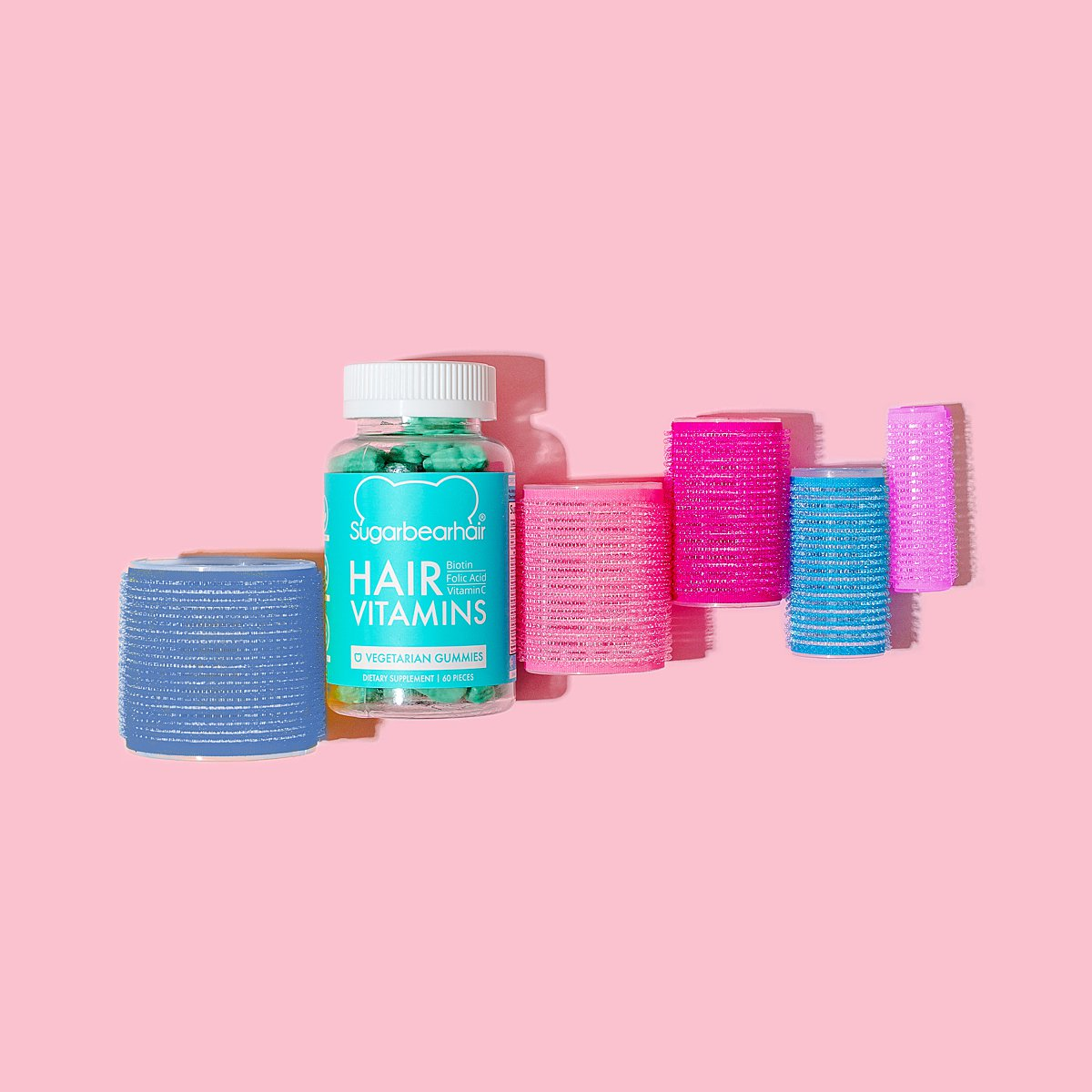 Colourful content creation for SugarBearHair vitamin supplements. Styled product stills photography by Marianne Taylor.