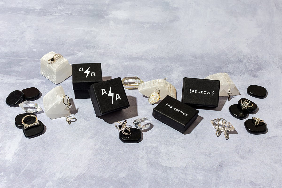 Product still life photography & content creation for As Above Jewellery. Product photography & styling by Marianne Taylor.