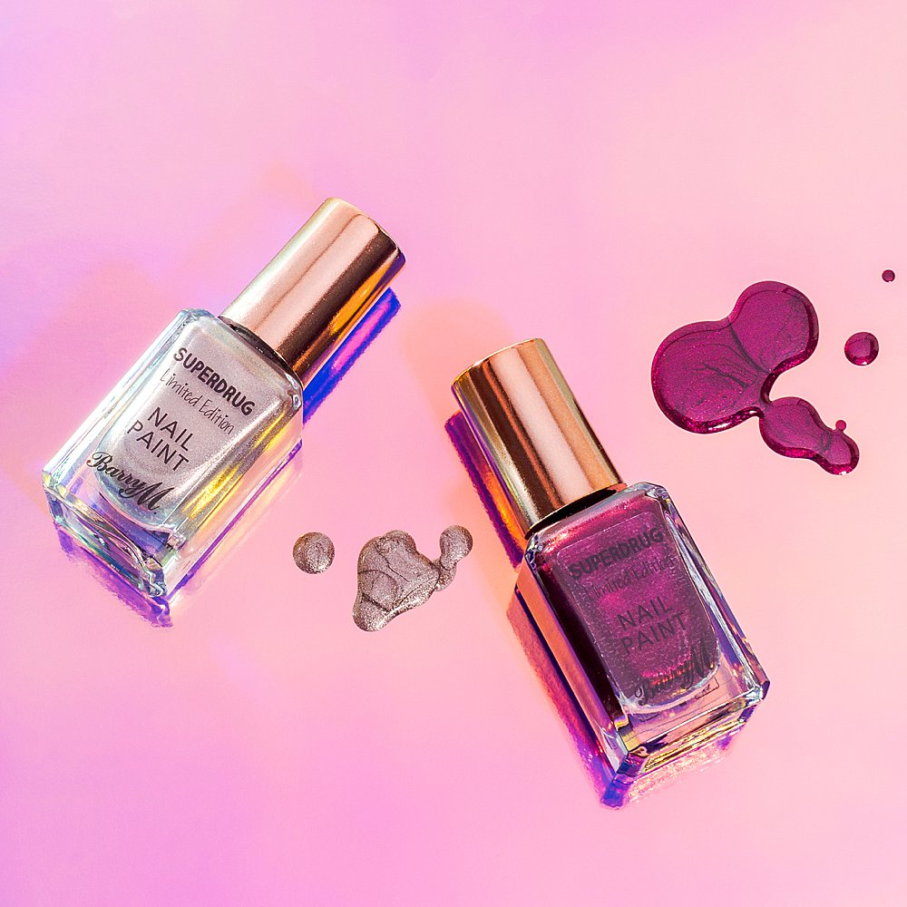 Colour-filled beauty product content creation for Barry M cosmetics. Styled makeup product stills photography by Marianne Taylor.
