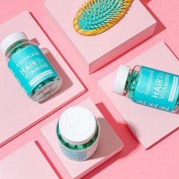 Colour-filled beauty product content creation for Sugarbearhair vitamins. Styled health product stills photography by Marianne Taylor.