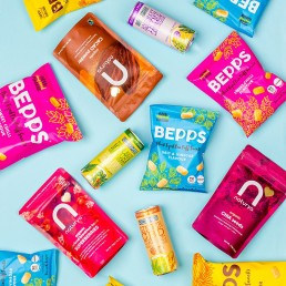 Colour-filled health product content creation for Bepps Snacks. Styled vegan snacks stills photography by Marianne Taylor.
