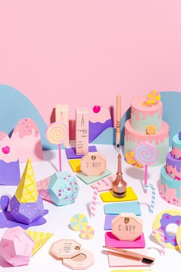 Candyland product still life photography & stop motion animation for Candy Brow Bar beauty products. Product photography & styling by Marianne Taylor.