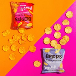 Colourful health product content creation for Bepps Snacks. Colour-filled styled vegan snacks stills photography by Marianne Taylor.