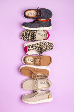Fun product photography for Hey Dude Shoes. Styled product stills photography by Marianne Taylor.