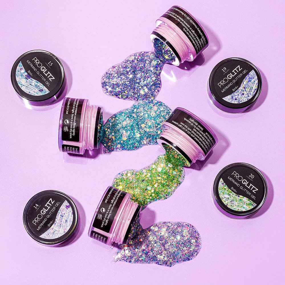 Glittery beauty stills content creation for Pro GLITZ in pastel colours. Styled makeup and cosmetics product stills photography by Marianne Taylor.