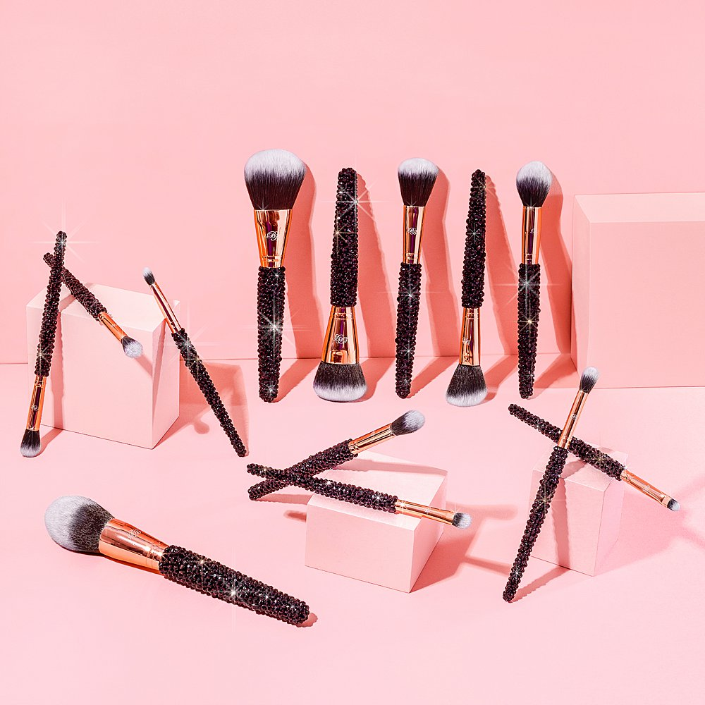 Beauty product content creation for Blinged Brushes bursting with colour. Styled makeup and cosmetics product stills photography by Marianne Taylor.
