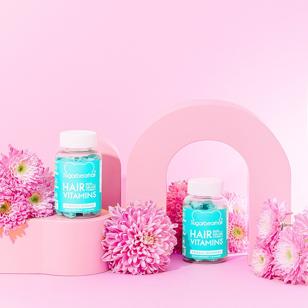 Beauty stills content creation for SugarBearHair hair and sleep vitamins in pastel tones. Styled health product stills photography by Marianne Taylor.