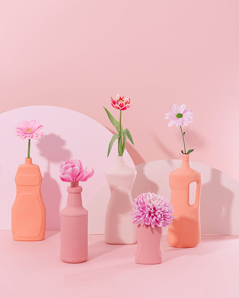 Colourful content creation for Foekje Fleur ceramic vases. Styled product photography by Marianne Taylor.