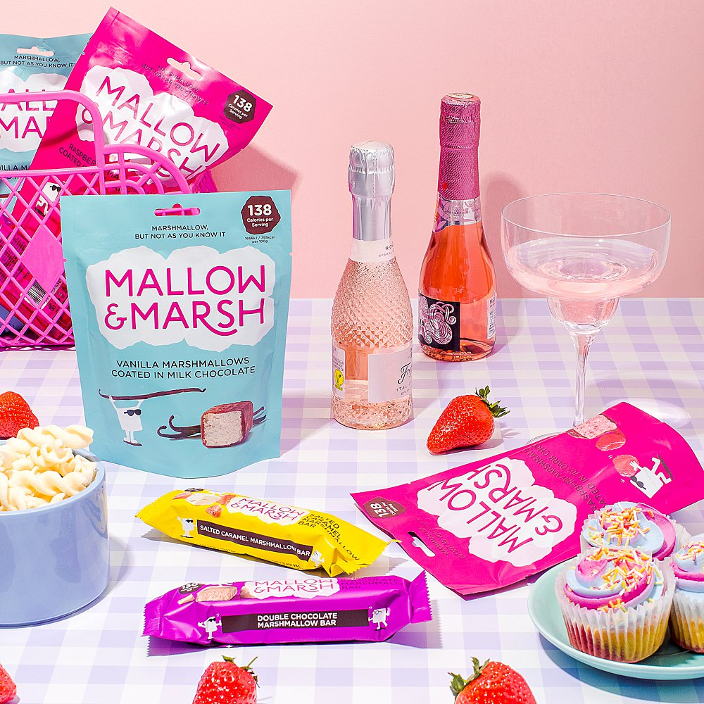 Colourful content creation for Mallow and Marsh snacks. Styled product and food photography by Marianne Taylor.