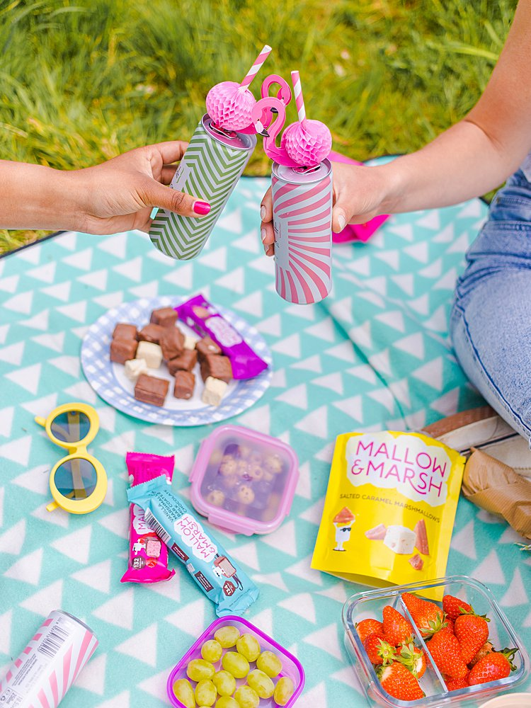 Colourful content creation for Mallow and Marsh snacks. Styled product and lifestyle photography by Marianne Taylor.