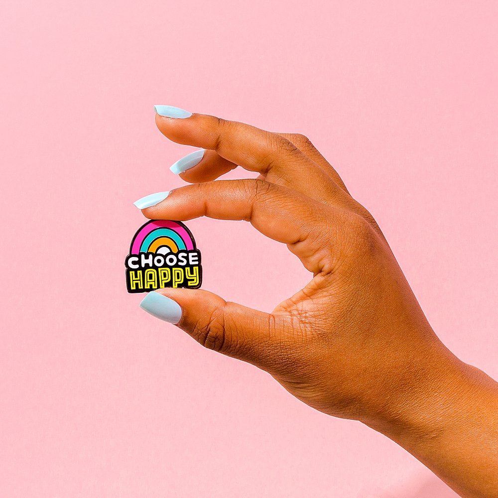 Fun colourful product photography for Punky Pins enamel pins. Styled product stills photography by Marianne Taylor.