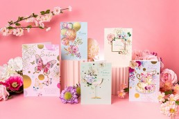 Colourful pretty content creation for Paper Rose cards. Styled product photography by Marianne Taylor.