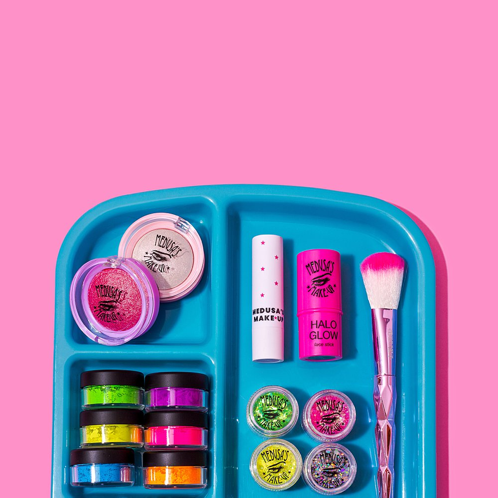 Colourful content creation for Medusa's make-up. Styled beauty product stills photography by Marianne Taylor.