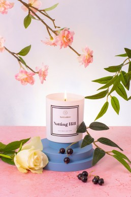 Colourful pretty content creation for Rare Lumiere candles. Styled beauty product stills photography by Marianne Taylor.