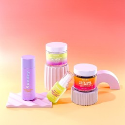 Beauty stills content creation for Sundry Skincare with bright colours. Styled health and beauty product stills photography by Marianne Taylor.