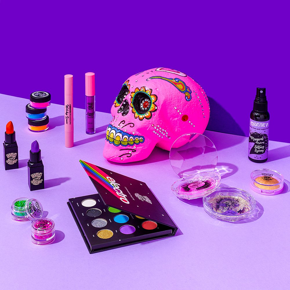 Colourful and fun content creation for Medusa's make-up. Styled beauty product stills photography by Marianne Taylor.