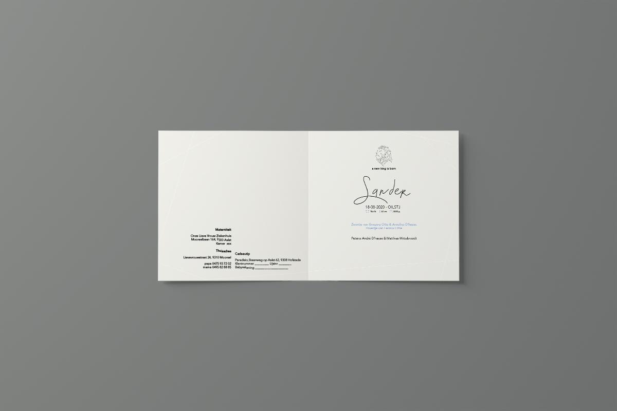 presentatie geboortekaartje dubbelvouw carre 01