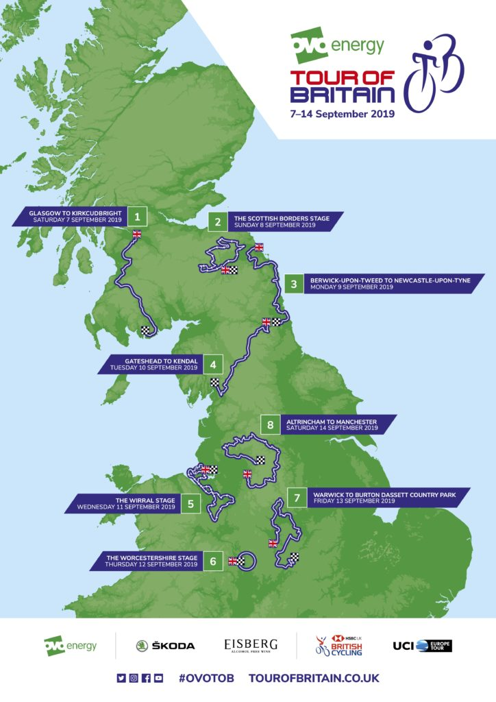 Tour of Britain 2019 Map