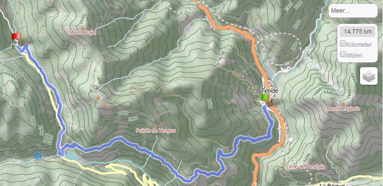 Tende - Casterino via zuidelijke route