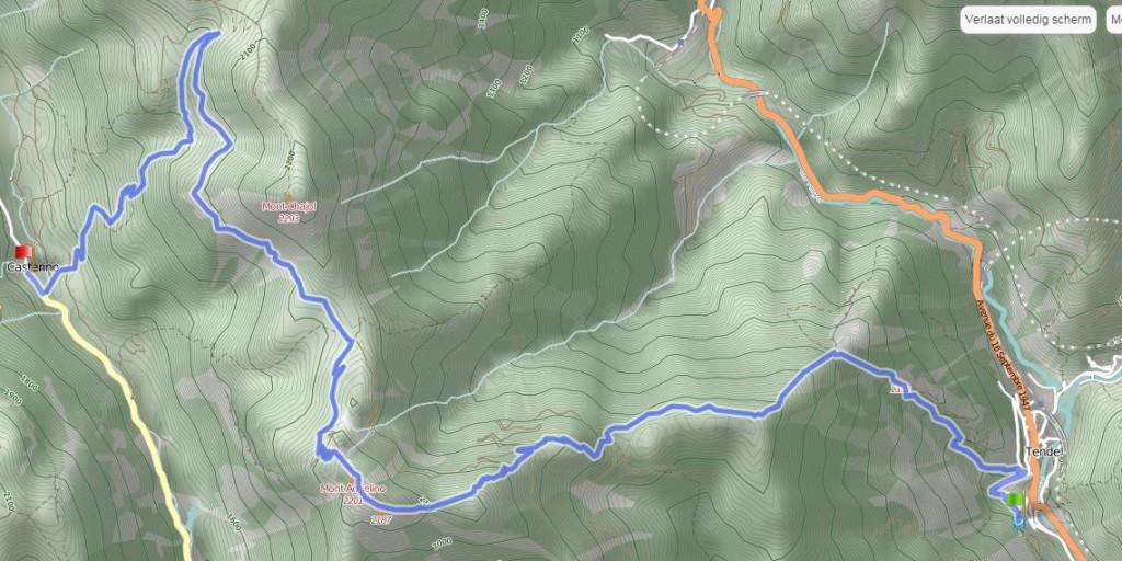 Routekaart Tende - Castérino noordelijke route