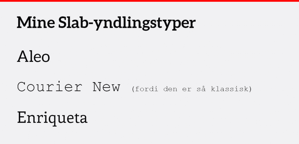 Slab serif skrifttype