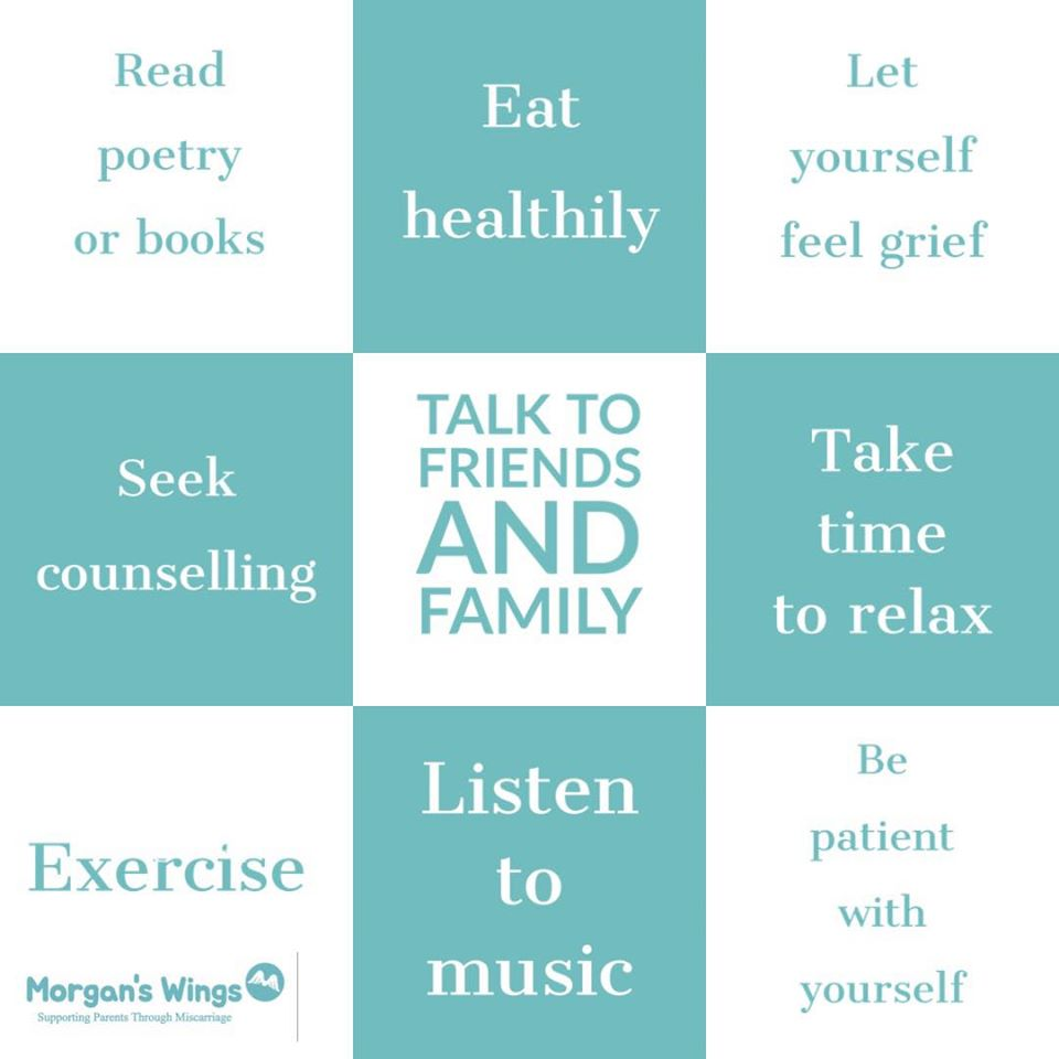 Picture showing ideas for self care after miscarriage