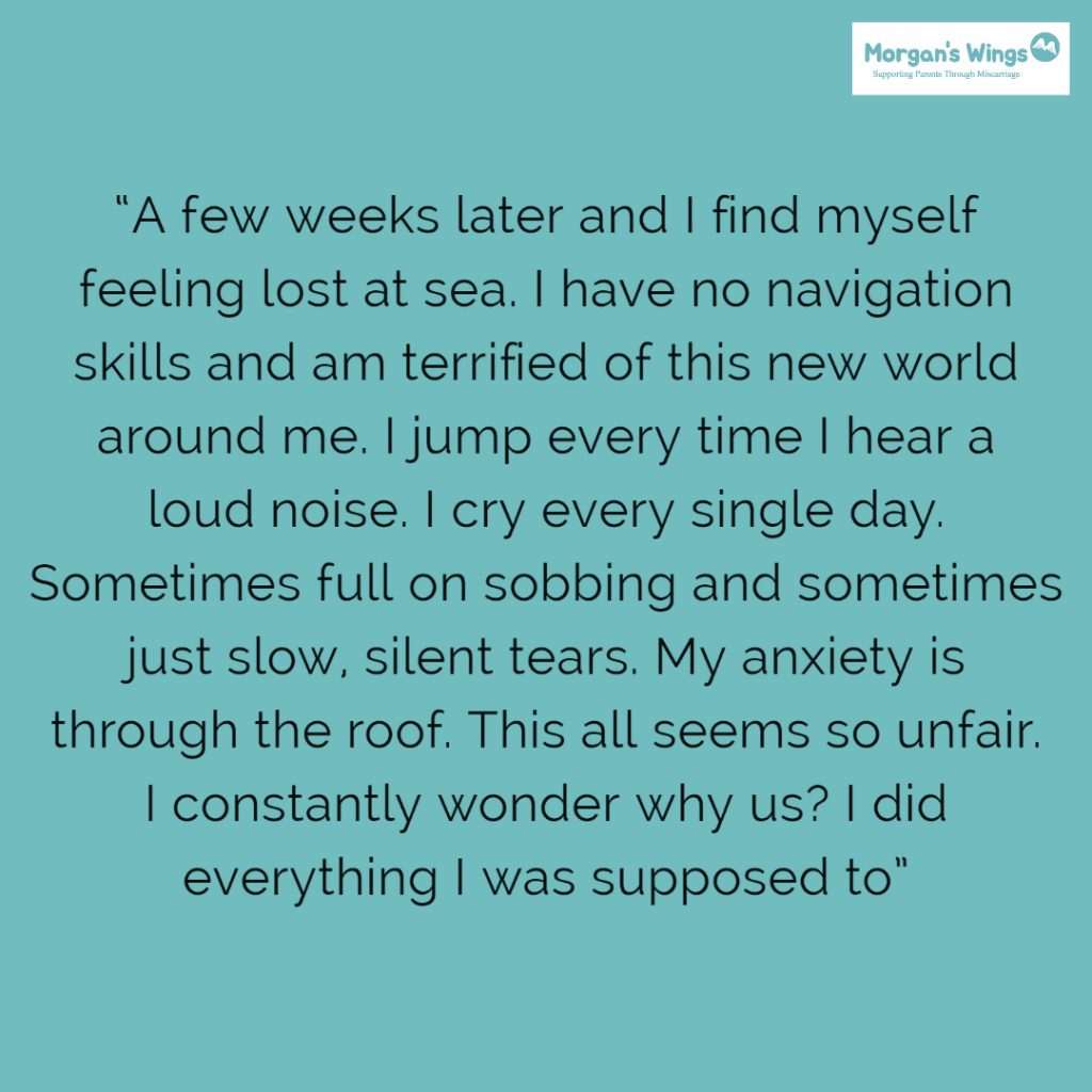 A quote about grief following a miscarriage