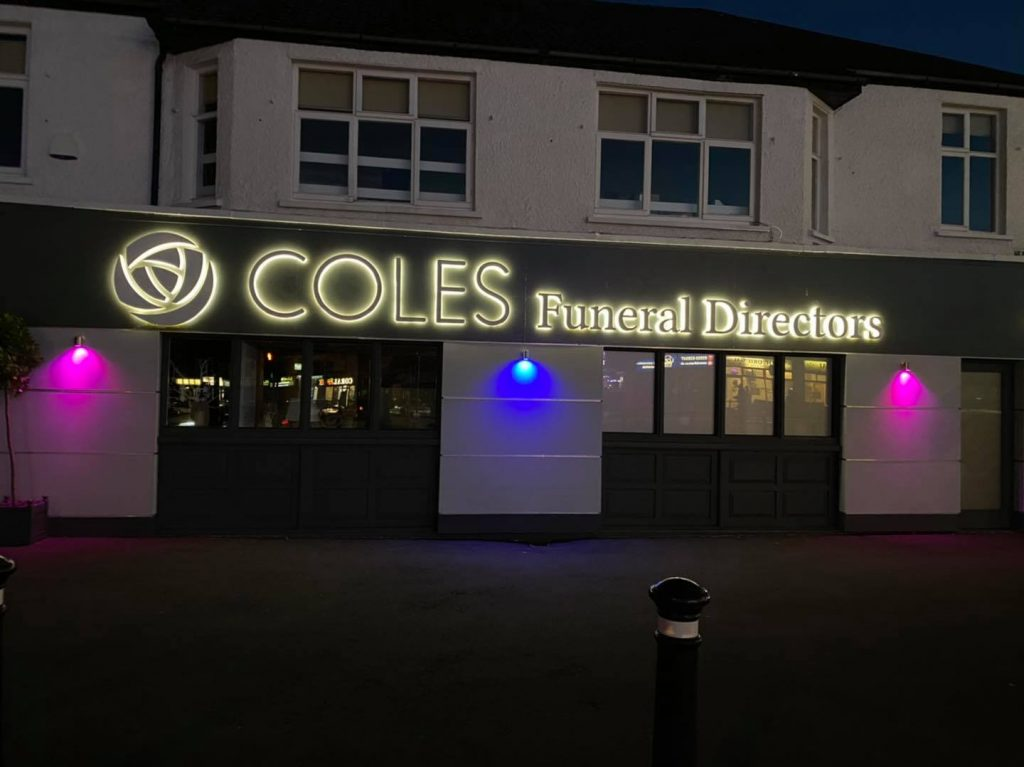Morgan's Wings and Coles Funeral Home worked together to light up pink and blue for Baby Loss Awareness Week