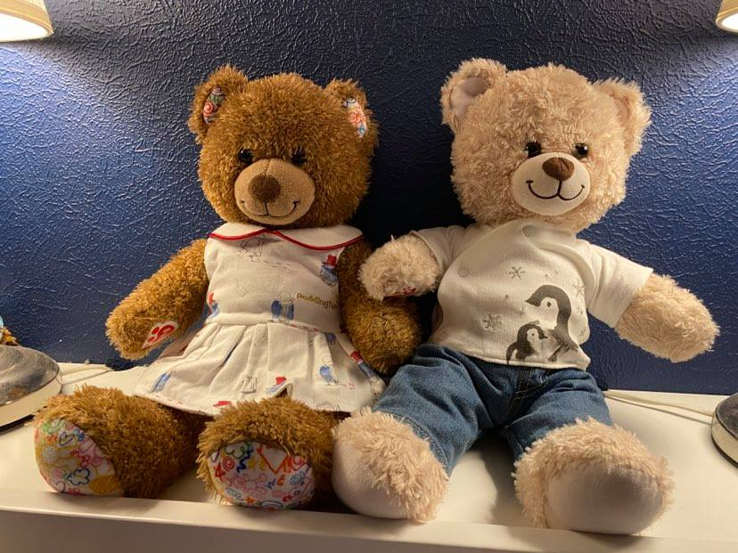 Two cuddly toys depicting babies lost through miscarriage