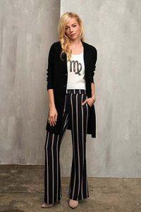 Esqualo: broeken met wijde pijpen en stripes