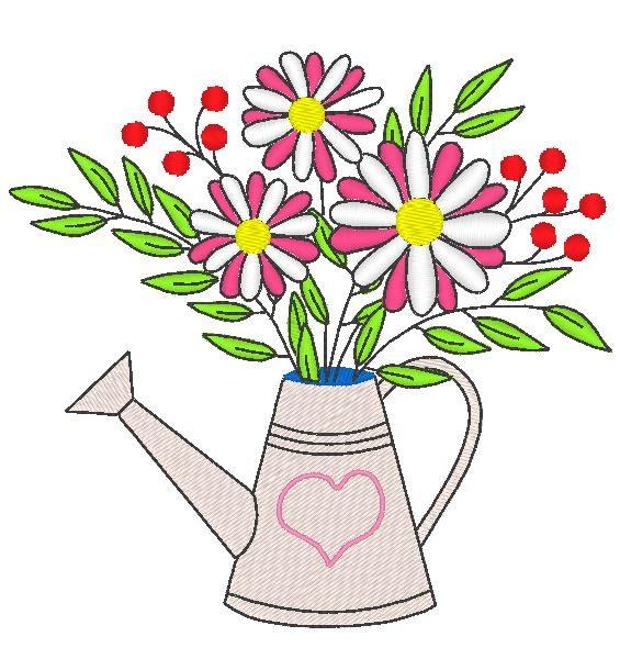 机绣花式喷壶图案