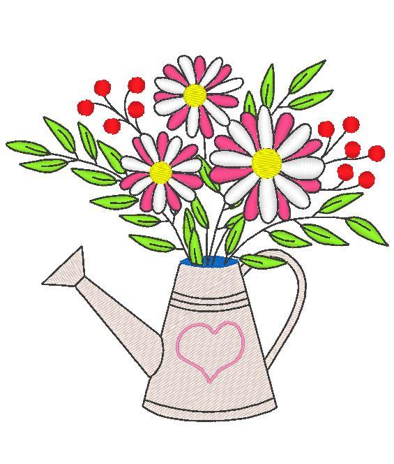 arrosoir fleuri motif pour broderie machine