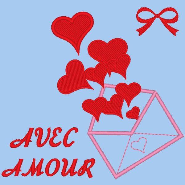 com desenho de bordado de máquina de amor de um envelope que liberta seus corações