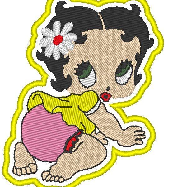 bebê betty aplicado padrão de máquina de bordar