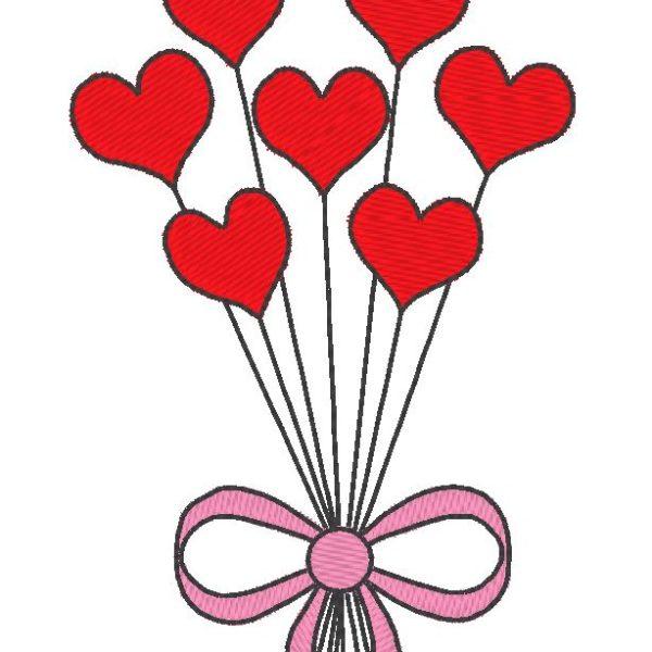 balões em corações bordado máquina design dia dos namorados