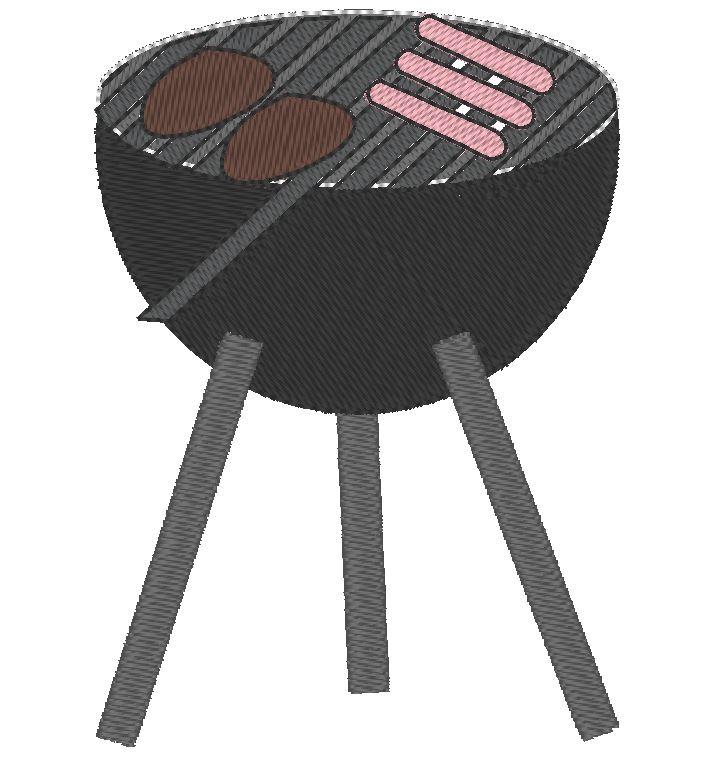 barbecue ou BBQ motif de broderie machine