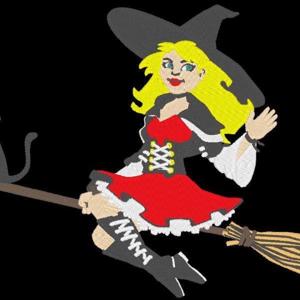 desenho de bordado de máquina de bruxa bonita em sua vassoura ao luar