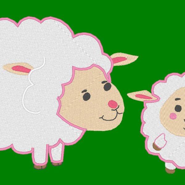 ricamo a pecora e agnello