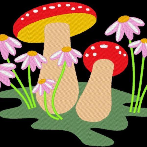 motif de broderie machine champignons et fleurs violettes
