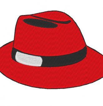 design de bordado de máquina de chapéu vermelho