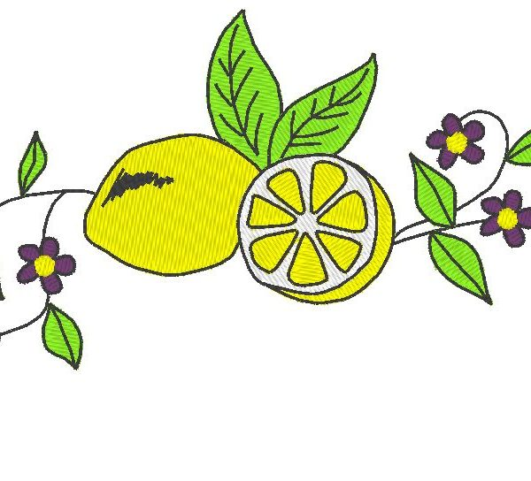 lemon and flowers machine embroidery design