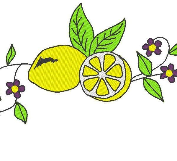 diseño de bordado a máquina de limón y flores