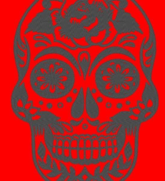 diseño de bordado a máquina del día del cráneo de los muertos