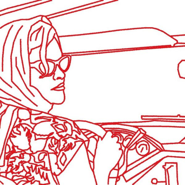 vintage woman in car machine embroidery design
