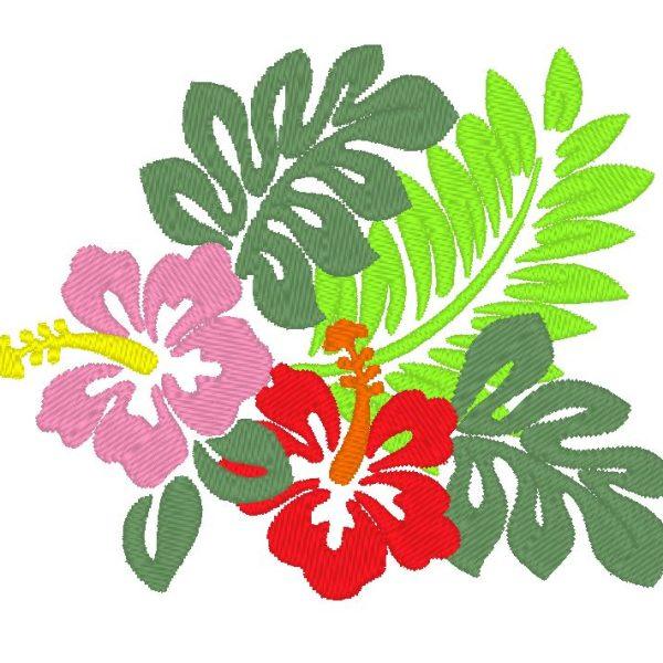hibiscus hawaiien motif de broderie machine