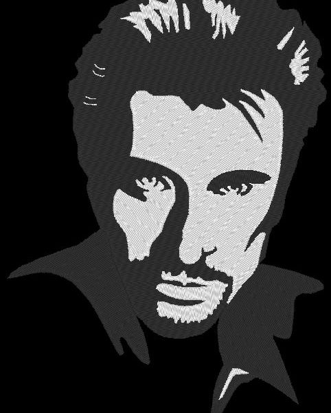 Patrón de bordado a máquina Johnny Hallyday 1 de estrellas francesas