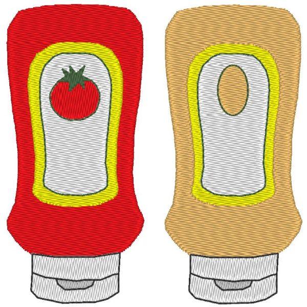 sauce Ketchup mayonnaise motif de broderie machine