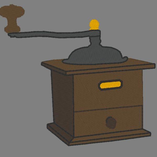 padrão de máquina de bordar moedor de café vintage