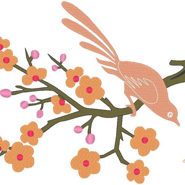 oiseau sur une branche motif de broderie machine